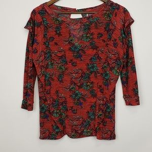 Free People Floral 3/4 Sleeve Blouse Size Small